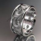 14kt white gold diamond leaf and vine wedding ring,engagement ring,wedding band ADLR 121