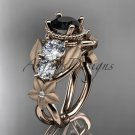 14k rose gold diamond floral, leaf and vine engagement ring with Black Diamond center stone ADLR69