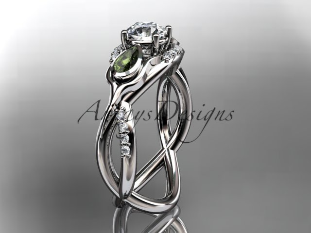 Unique 14kt white gold diamond tulip flower, leaf and vine engagement ring ADLR226
