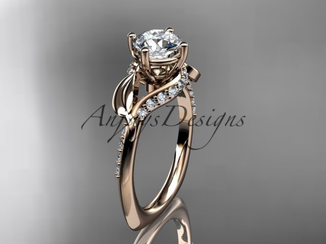Unique 14k rose gold diamond leaf and vine wedding ring, engagement ring ADLR225