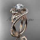 Unique 14kt rose gold diamond leaf and vine wedding ring,engagement ring ADLR222