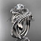 Unique platinum diamond leaf and vine wedding set, engagement set ADLR222