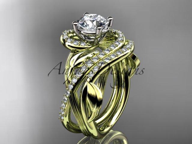 Unique 14kt yellow gold diamond leaf and vine wedding set, engagement set ADLR222