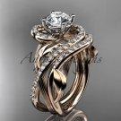 Unique 14kt rose gold diamond leaf and vine wedding set, engagement set ADLR222