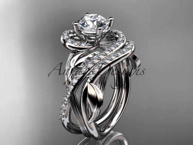 Unique 14kt white gold diamond leaf and vine wedding set, engagement set ADLR222