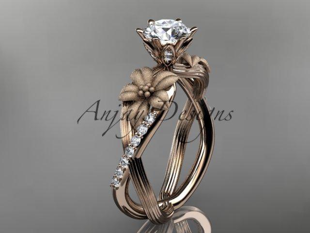 Unique 14kt rose gold diamond flower, leaf and vine wedding ring, engagement ring ADLR221