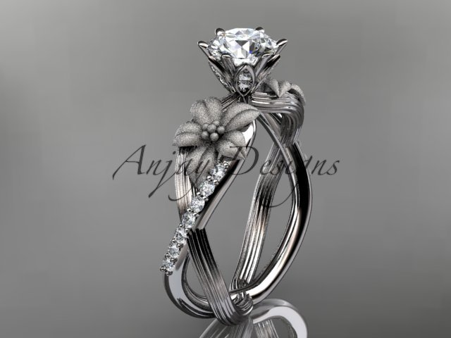 Unique 14kt white gold diamond flower, leaf and vine wedding ring, engagement ring ADLR221