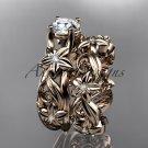 14k rose gold diamond floral wedding set, engagement set ADLR216
