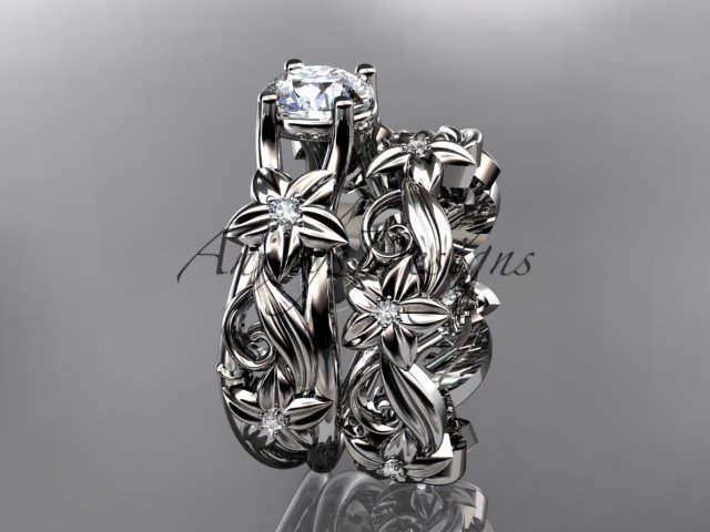 14k white gold diamond floral wedding set, engagement set ADLR216
