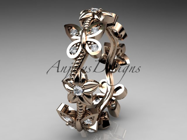 14kt rose gold diamond floral butterfly wedding ring, engagement ring, wedding band ADLR139