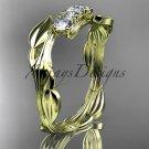 14kt yellow gold diamond leaf and vine three stone ring ADLR247