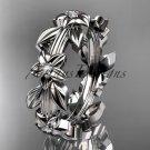 Platinum diamond leaf wedding ring,engagement ring, wedding band ADLR316