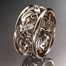 14kt rose gold diamond leaf and vine wedding ring, engagement ring ADLR150
