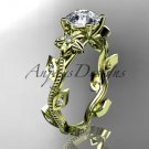 14kt yellow gold diamond engagement ring. ADLR151. nature inspired jewelry