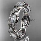 Platinum diamond leaf and vine wedding ring, engagement ring. ADLR152. Nature inspired jewelry