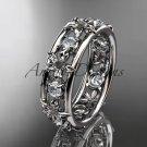 Platinum diamond leaf wedding ring,engagement ring, wedding band. ADLR160 nature inspired jewelry