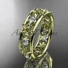 14kt yellow gold diamond engagement ring, wedding band. ADLR160 nature inspired jewelry