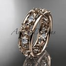 14kt rose gold diamond leaf wedding ring,engagement ring, wedding band. ADLR160