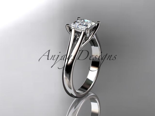 14kt white gold diamond unique engagement ring,wedding ring, solitaire ring ADER143