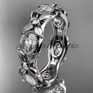 14kt white gold diamond engagement ring ADLR152. Nature inspired jewelry