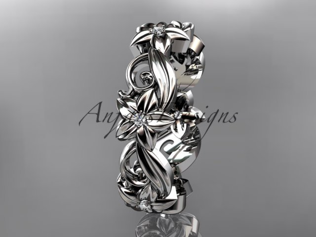 14kt white gold diamond flower wedding ring,engagement ring,wedding band. ADLR 217
