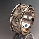 14kt rose gold diamond leaf and vine wedding ring,engagement ring,wedding band ADLR 121