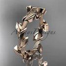 Unique 14kt rose gold leaf and vine wedding ring ADLR248B