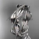 Unique 14k platinum leaf and vine engagement ring,wedding band ADLR258B