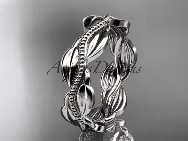 Unique 14k white gold leaf and vine engagement ring,wedding band ADLR258B