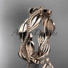 Unique 14k rose gold leaf and vine engagement ring,wedding band ADLR258B
