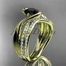 14kt yellow gold diamond wedding ring, engagement set with a Black Diamond center stone ADLR78S