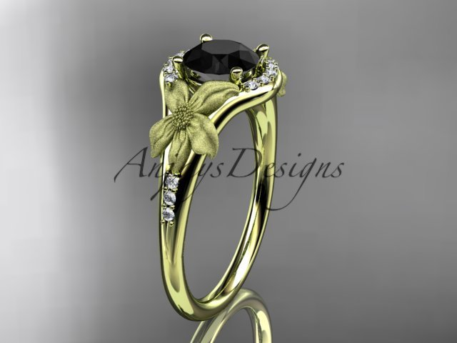 14kt yellow gold diamond engagement ring with a Black Diamond center stone ADLR91