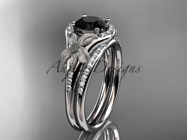 14kt white gold diamond leaf and vine engagement set with a Black Diamond center stone ADLR91S