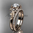 14kt rose gold diamond unique engagement set, wedding ring with a Moissanite center stone ADER154S