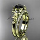 14kt yellow gold diamond unique engagement set with a Black Diamond center stone ADER154