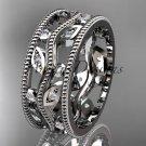 14kt white gold diamond leaf and vine wedding ring, engagement ring, wedding band ADLR8B
