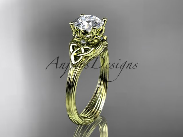 14kt yellow gold diamond celtic trinity knot wedding ring, engagement ring CT7240
