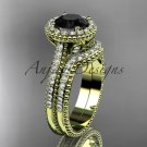 14kt yellow gold diamond floral engagement ring with a Black Diamond center stone ADLR101S
