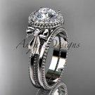 14kt white gold diamond unique engagement set, wedding ring ADER157S