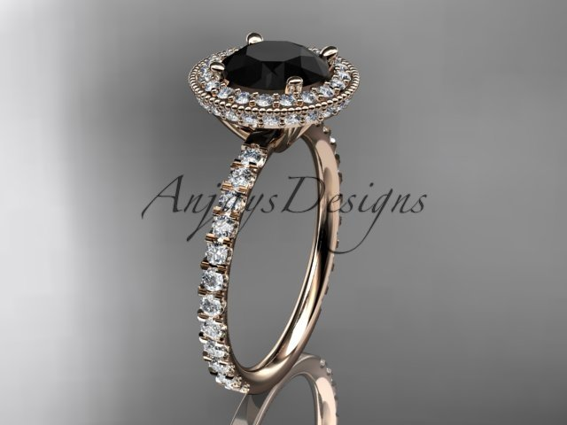 14kt rose gold diamond unique engagement ring with a Black Diamond center stone ADER106