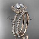 14kt rose gold diamond unique wedding ring, engagement set ADER106S