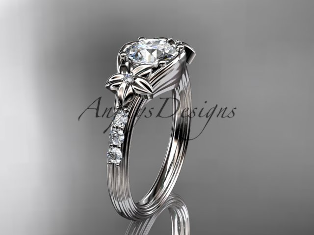 14k white gold diamond floral diamond engagement ring with a Moissanite center stone ADLR333