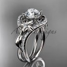 """14kt white gold diamond engagement ring with a """"Forever One"""" Moissanite center stone ADLR244"""