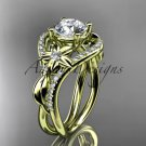 "14kt yellow gold diamond engagement ring with a ""Forever One"" Moissanite center stone ADLR244"