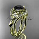 14kt yellow gold diamond engagement ring with a Black Diamond center stone ADLR244