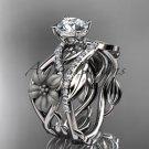 Unique 14kt white gold floral diamond wedding ring, engagement set ADLR270S