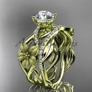 """14kt yellow gold floral engagement set with a """"Forever One"""" Moissanite center stone ADLR270S"""