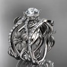 14kt white gold floral diamond engagement ring and double matching band ADLR270S