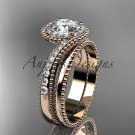 """14kt rose gold halo diamond engagement set with a """"Forever One"""" Moissanite center stone ADLR379S"""