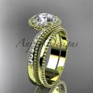 """14kt yellow gold halo diamond engagement set with a """"Forever One"""" Moissanite center stone ADLR379S"""